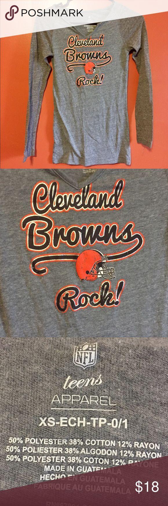Brand new long sleeve Browns tshirt Brand new long sleeve grey NFL Browns tshirt with v neck cut Nike Tops Tees - Long Sleeve