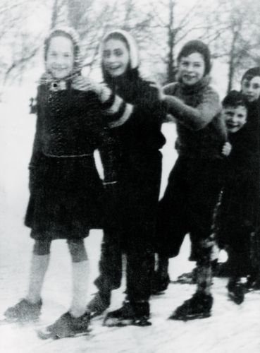 Anne Frank ice skating with friends