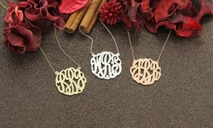 Groupon - Rose-Gold-, Gold-Plated, or Sterling Silver Monogram Necklaces from Monogram Online Available from $ 39.99—$49.99  in Online Deal. Groupon deal price: $39.99
