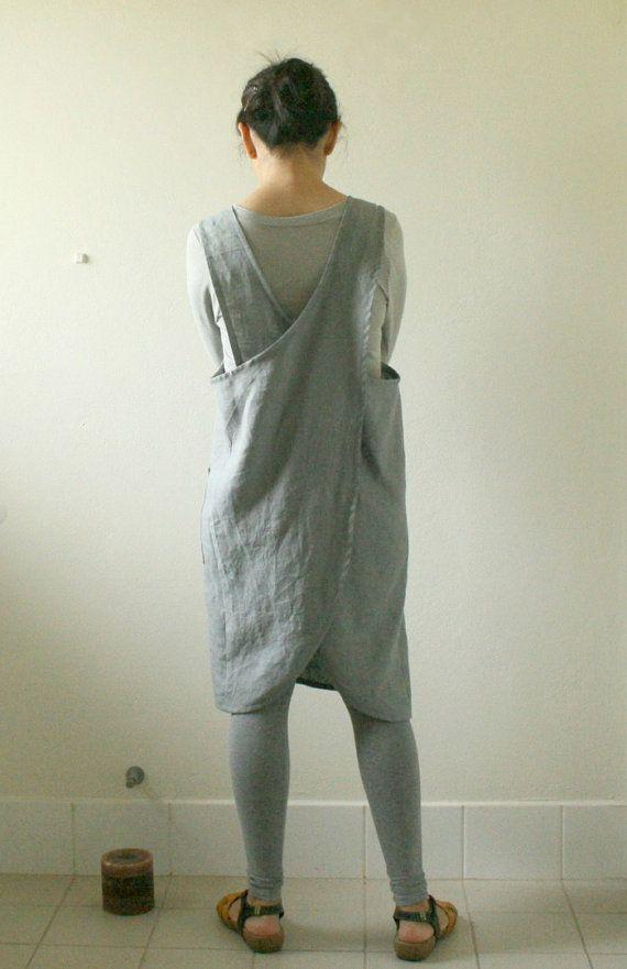 GREY LINEN APRON / full / pinafore / linen dress / by PAMELATANG