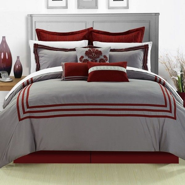 Cosmo 8-pc. Comforter Set, Red (175 CAD) ❤ liked on Polyvore featuring home, bed & bath, bedding, comforters, red, king size pillowcases, red queen comforter, king fitted sheet, red comforter set and king size comforter