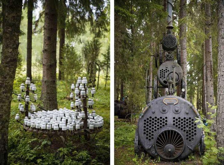 Puhelinlangat laulaa (vas.) on omistettu Katri Helenalle. 2000-monumentin höyrypannuista yksi on Kyrösjärveltä, keskimmäinen Näsijärveltä ja kolmas muualta.