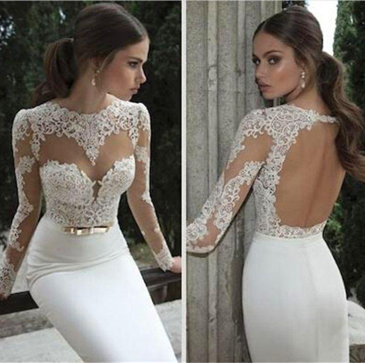 Vestido de novia ilusión De Manga Larga Pura apliques de encaje sin espalda cinturón Formal Vestidos | Ropa, calzado y accesorios, Ropa de boda y formal, Vestidos de novia | eBay!