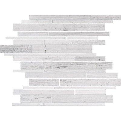 Polished Random Strip Wooden White Limestone Mosaic Tile $9.95/each