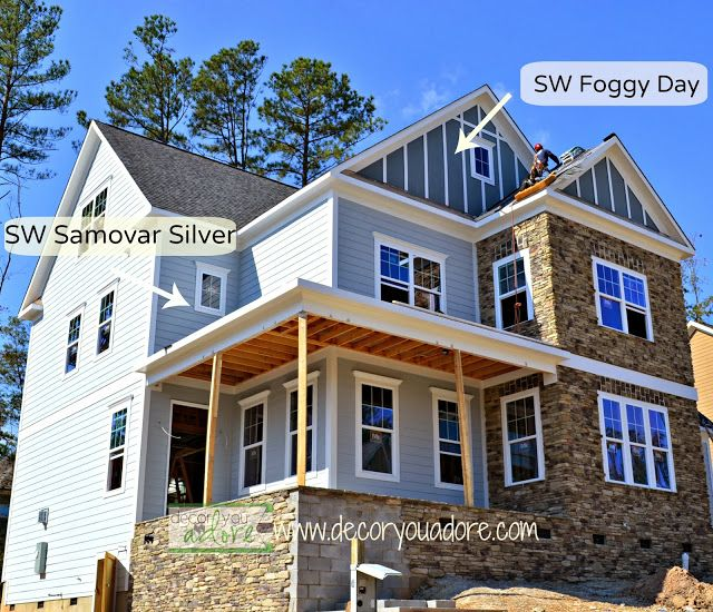 Blue Gray Exterior Paint Colors sw samovar silver, sw foggy day, exterior paint color, the