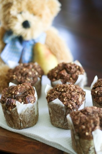 fresh pear and dried figs bran muffins from the healthy foodie
