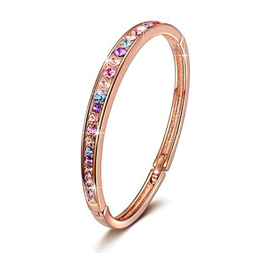 50% OFF SALE PRICE - $29.99 - Brilla Rose Gold Plated Bangle Bracelet Women Fashion Jewelry With Swarovski Crystals,7""