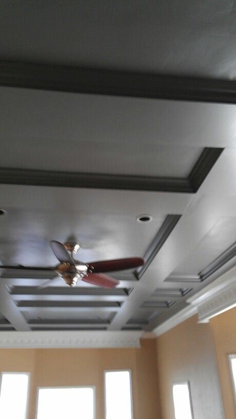 Coffered ceiling, valance and crown moulding