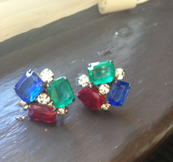Rhinestone earrings, Screw back earrings, Vintage rhinestone earrings, red green blue earrings,screw back earrings by DuckCedar on Etsy