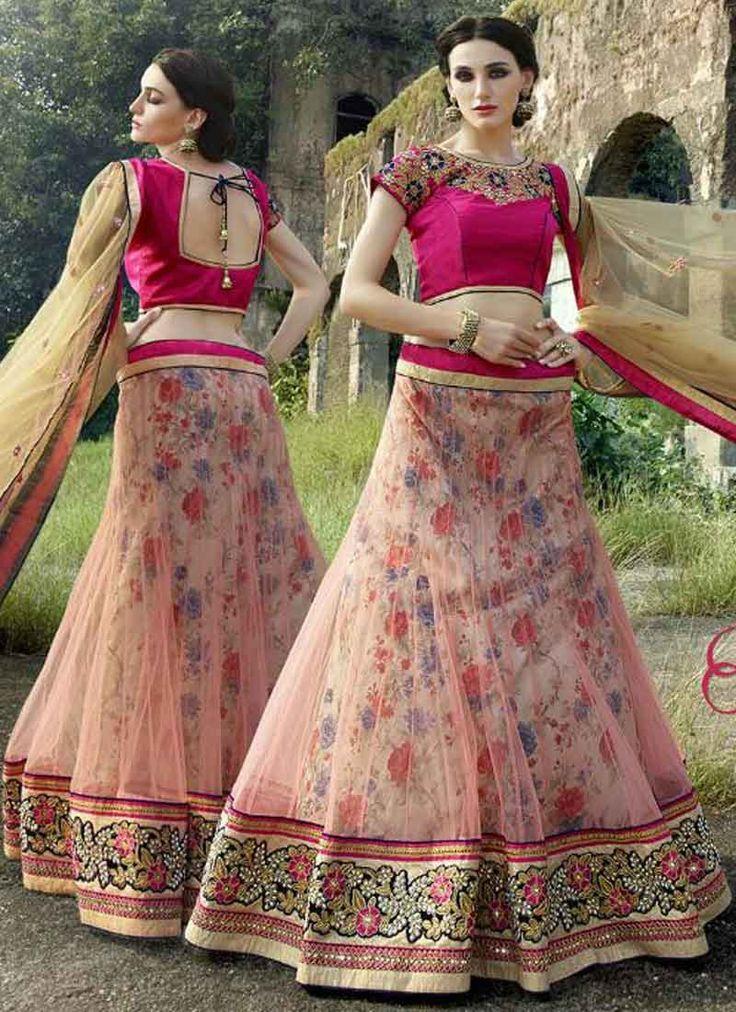 Peaceful peach and magenta net bhagalpuri print designer lehanga choli http://www.angelnx.com/