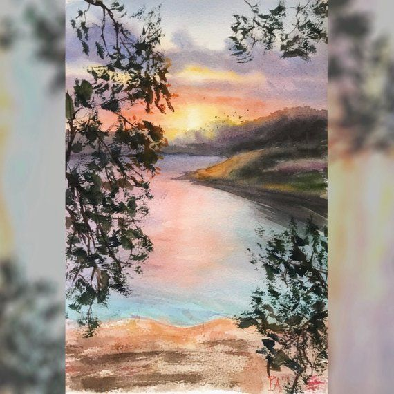 Beautiful Watercolor Sunset Painting 21x29 7 Cm Sea Landscape Art