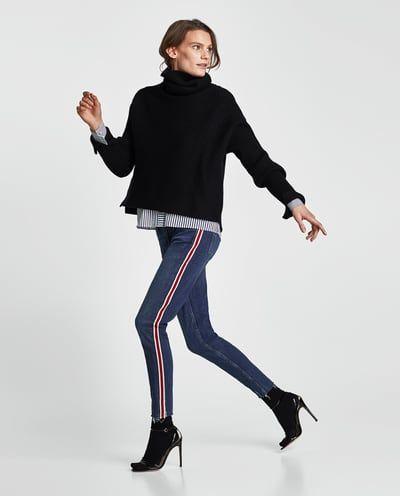 Mujer Pantalon Banda Jeans Lateral España Zara Zq47ZpWPF