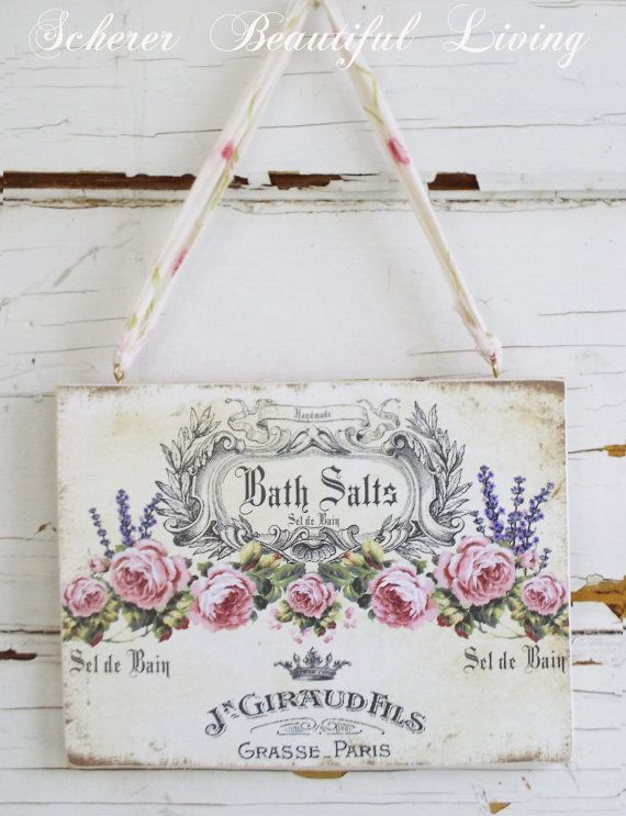 Rose Chic French Paris Sign Plaque Shabby Wall by ArtbyScherer