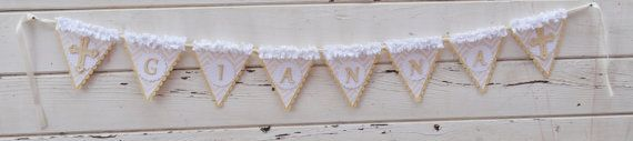First Communion Name Banner- Baptism Banner on Etsy, $30.00