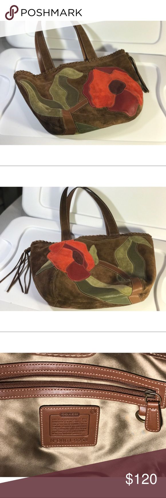Coach SoHo Red Suede Floral Poppy for Peace Purse Coach Limited Edition SoHo Red Suede Floral Poppy For Peace Purse Medium Tote/ Handbag. Like new/ Light Use- small marking on front (picture shows) Coach Bags