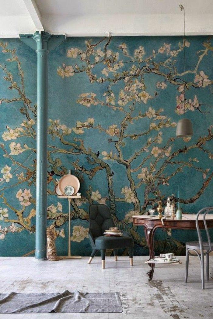 Les 25 meilleures id es de la cat gorie tapisserie murale sur pinterest tapisserie papier - Peindre sur de la tapisserie ...