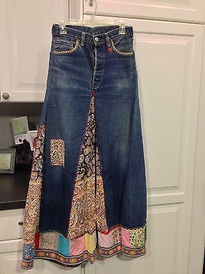 Vintage LEVIS Big E Blue Jean Patchwork Bohemian Denim Hippie Maxi Skirt