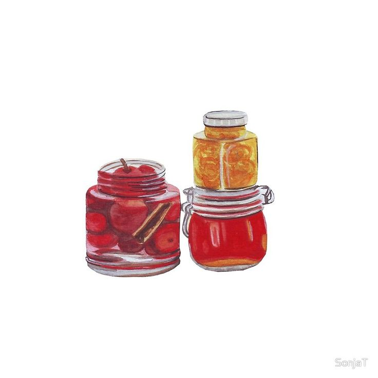 Jam jars in red and yellow