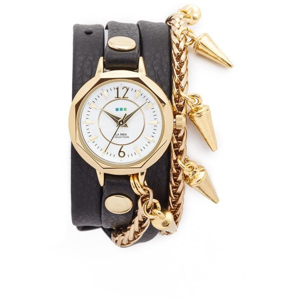La Mer Collections Lima Chain Watch (5,465 DOP) ❤ liked on Polyvore featuring jewelry, watches, wrap watch, la mer watches, wraparound watches, bezel jewelry and slim watches