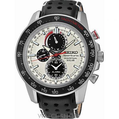 Mens Seiko Sportura Perpetual Alarm Chronograph Solar Powered Watch SSC359P1