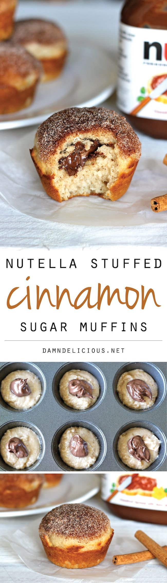 What?!?!-- Nutella Stuffed Cinnamon Sugar Muffins - Cinnamon sugar crusted muffin tops with a hidden Nutella filling that everyone will love!