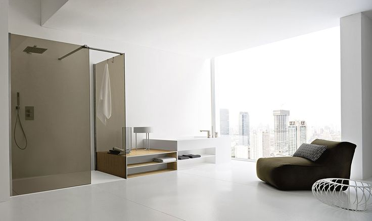 """Argo by Imago design is the collection made in Korakril™ characterized by a composition element with """"L"""" shape, that it is repeated on different modules, such as washbasins (wall hung and over counter), integrated tops, shower trays and bathtubs, with aesthetic function, but mainly practical. #design #inspiration #bathroom #bath #materials #Corian® #Korakril™"""