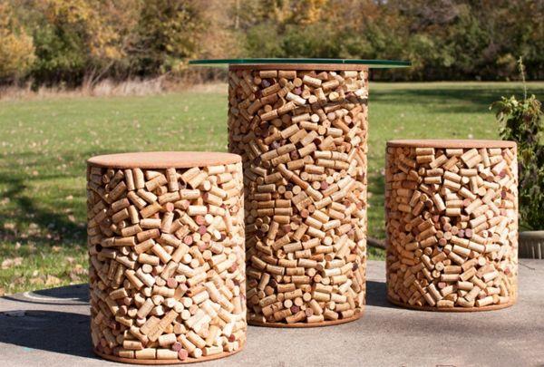Basteln rund bequem hocker tischplatte rund Korken sitzecke