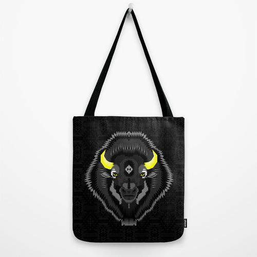 Geometric Bison Tote Bag by chobopop | Society6