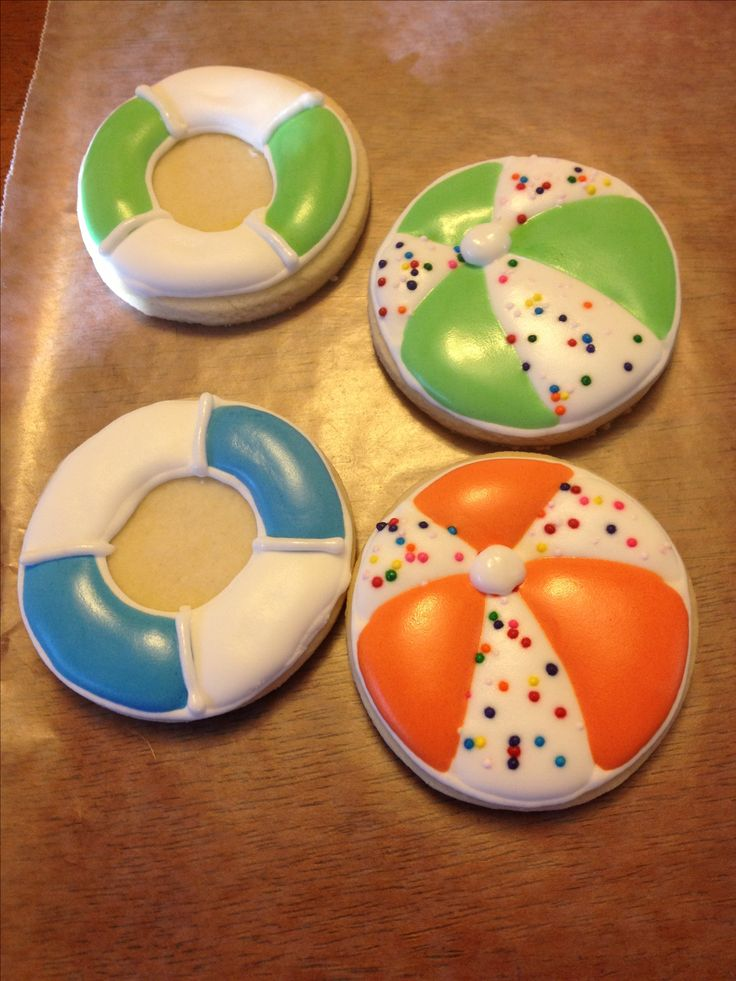 Beach ball and life preserver cookies for G