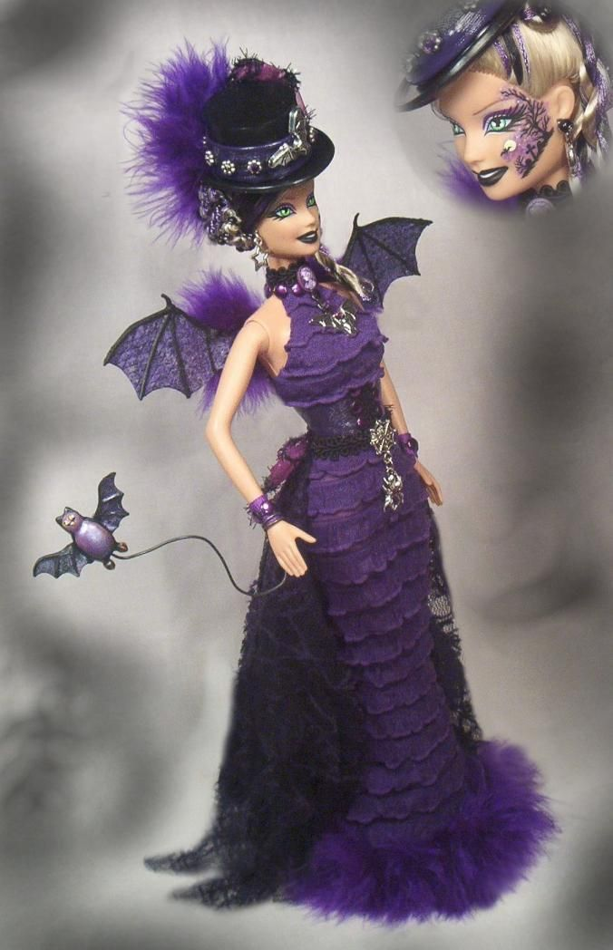 Barbie Flying Bat Haunted Halloween Vampire Bat Art Doll Altered OOAK Passion | eBay