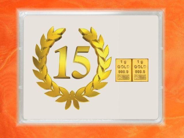 2 g Goldbarren zu Jubiläum 15 Jahre - auch in 1g & 3,1g (1/10 Unze) bei GP METALLUM zu haben