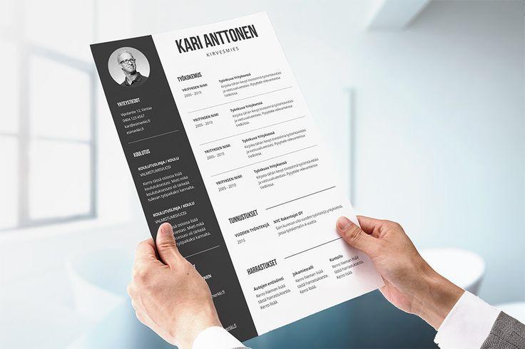 CV-pohja miehelle joka pitää selkeydestä ja visuaalisuudesta!