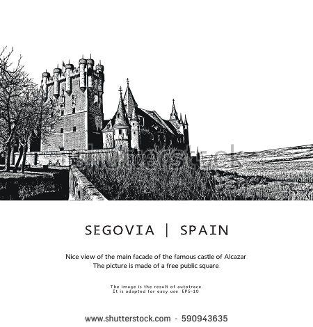 Old Castle - Alcazar of Segovia, Spain. Vector illustration.  Free public square. Result of auto-trace, adapted for easy use.