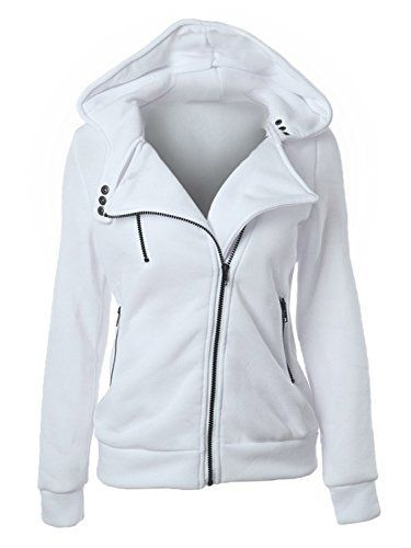 #womensfashion Choies Women White Zip Up Fleece Slim Fit Hooded Coat Warm Pocket Hoodie Jacket: If you're thinking of… #womensclothing
