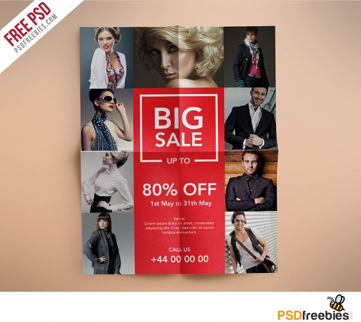Download Fashion Retail Sales Flyers Free PSD Template. This flyer has a cool look with a universal design to accommodate almost any type of business like retail sales business, fashion sales or boutiques who wants to promote a sale. This Flyer / Poster Template is 8.5 by 11 in (8.75 in by 11.25 in with bleeds) and is ready for print, because it's in CMYK at 300 dpi. The psd file can be edited in Photoshop, and to be simple able to change the text.