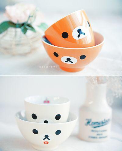 bowl, cute, japan, mug, orange, rilakkuma