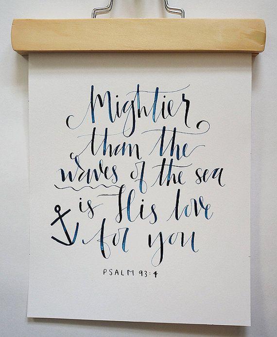 Hand Calligraphy Nautical Bible Verse Print