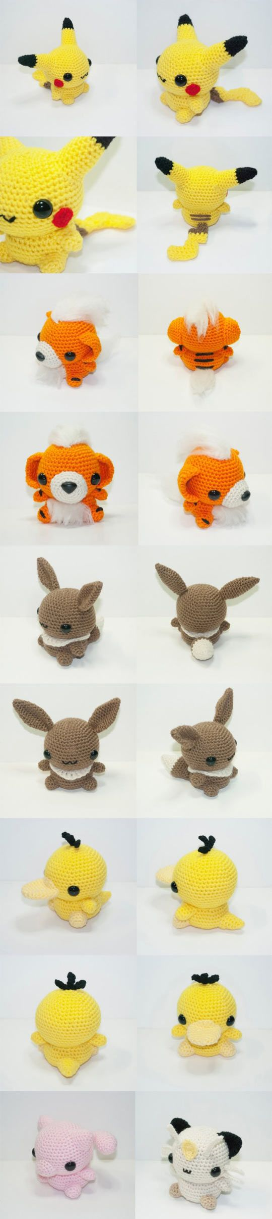 More Pokegurumi! No patterspns, but a talented person could figure them out.