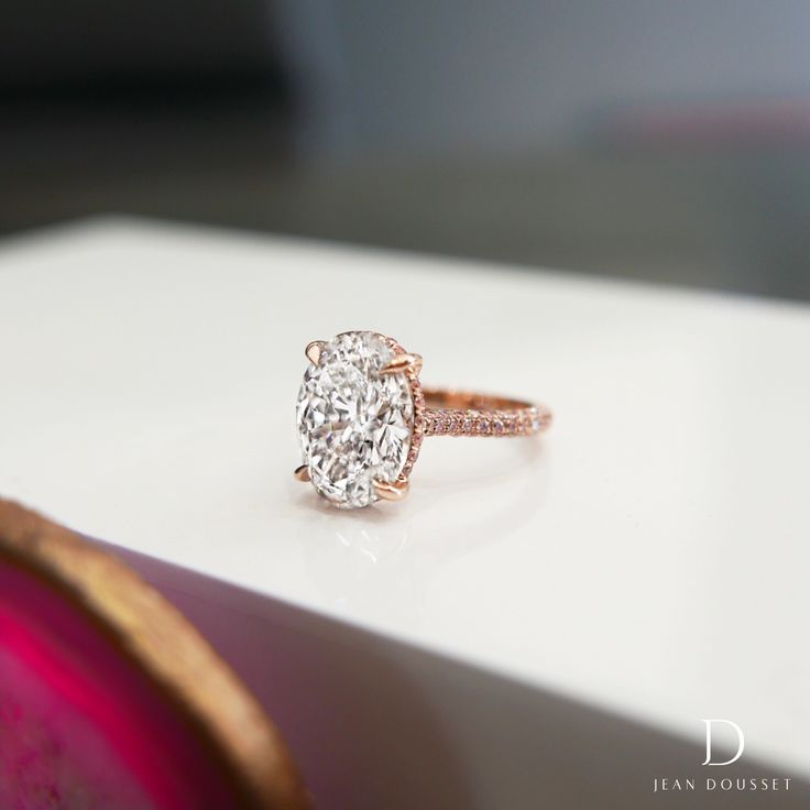 CHELSEA ROSE PINK, oval diamond engagement ring with natural Fancy Argyle pink pavé diamonds, set in rose gold. #engagementring #rosegold