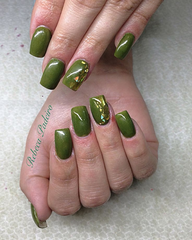 Acrylic Military Green Nails with Gold Leaf