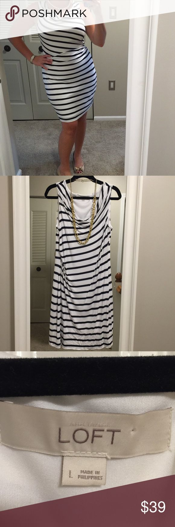 Loft Navy Stripe Dress Loft Navy Stripe Dress - size large. Fully lined, super comfortable and flattering to all figures. LOFT Dresses Midi