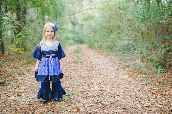 Pretty toddler and little girl outfit - kimono dress and ruffle pants - in a mix blue cottons including a sparkly star print.  The perfect clothes for birthdays, holidays, ... #toddlerdress #summerfashion #handmade