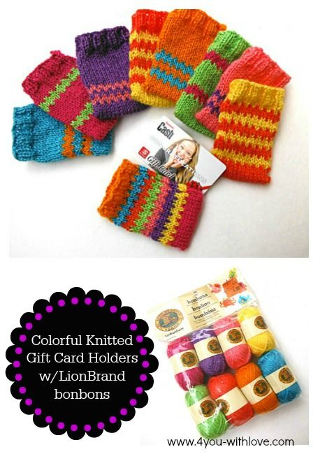Easy colorful knitted gift card holders made with Lion ...