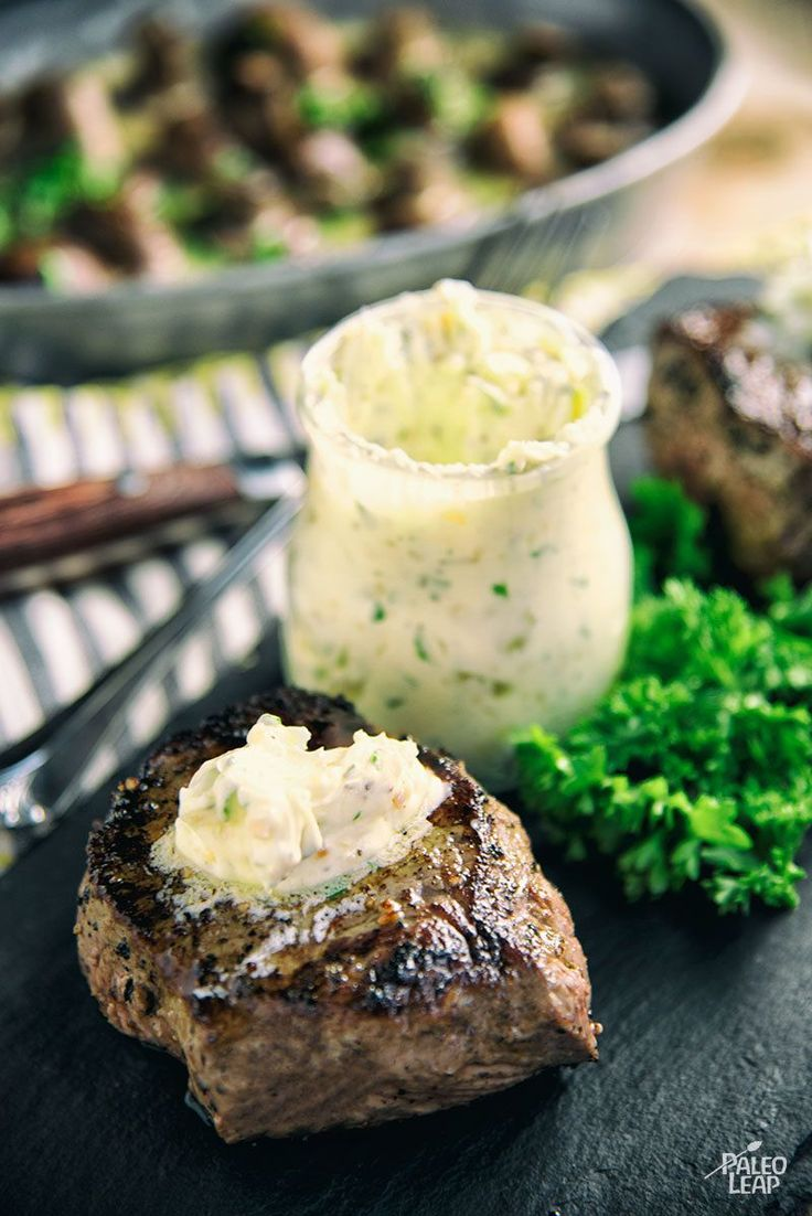 Garlic & Herb Butter Top Sirloin Filet - A simple and elegant dinner: top sirloin steak finished off with an herb-whipped ghee.