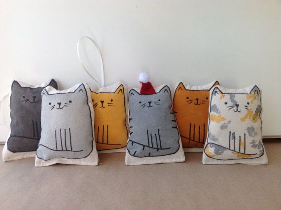 Cat Christmas decoration.  Hand painted fabric by BoxRoomBazaar
