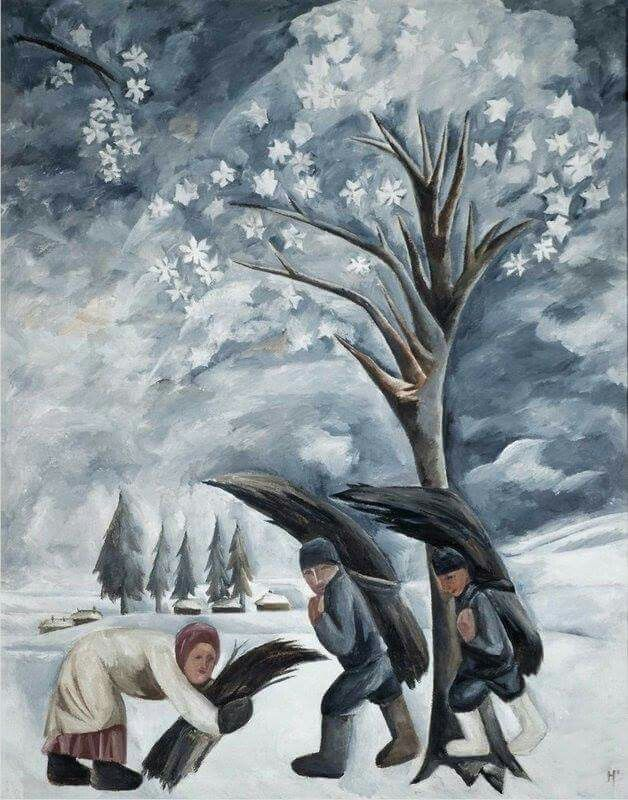 Natalia Goncharova (1881 - 1962). Winter. Gathering firewood. 1911. Oil on canvas. 132 x 96 cm. The State Tretyakov Gallery, Moscow
