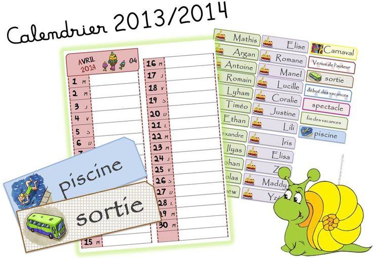 17 best images about organisation de la classe rituels for Calendrier mural 2015