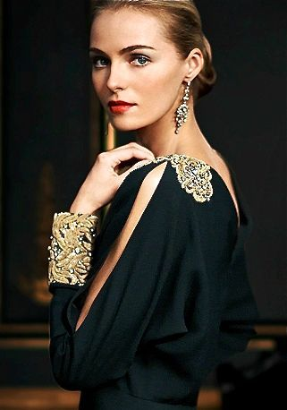 Richly embroidered  decorated cuffs and shoulder detail, Ralph Lauren