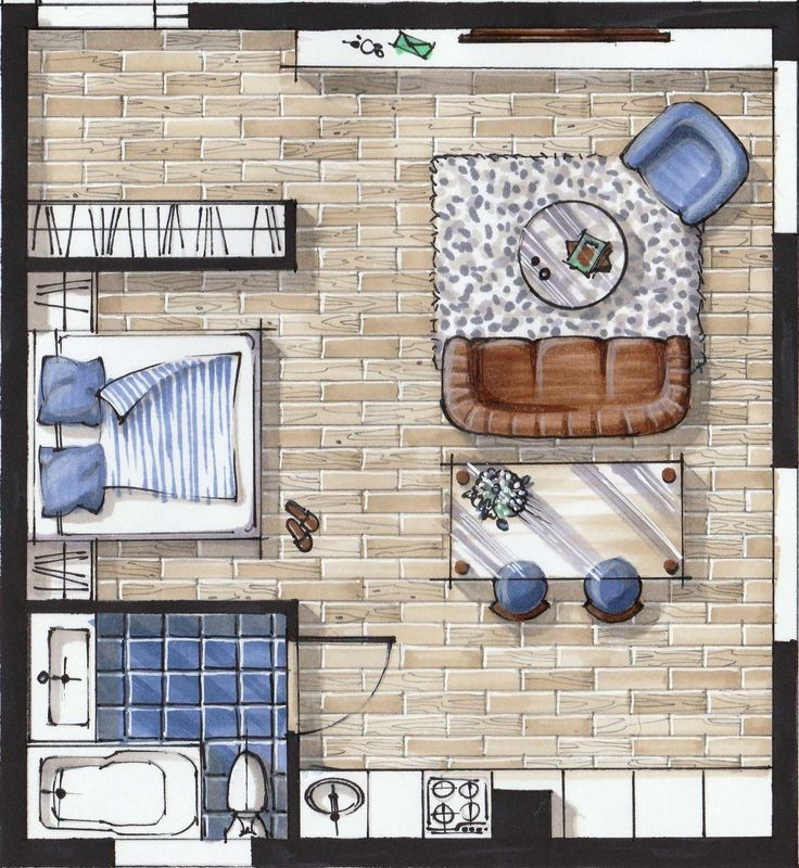 """E-course on hand rendering with markers (""""Basic"""" level) for interior designers by Olga Sorokina"""