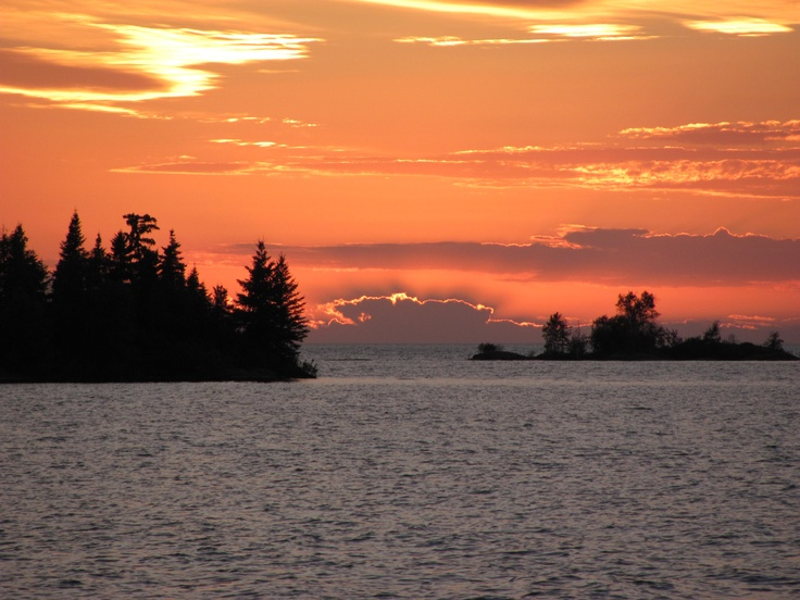 Sunset over the Kasakeemeemisikak Islands, Hecla Provincial Park, MB